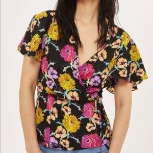 Topshop Floral Wrap Flounce Sleeve Blouse Size 4